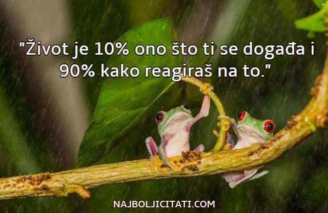 zivot je 10% ono sto ti se dogadja i 90% kako reagiras na to
